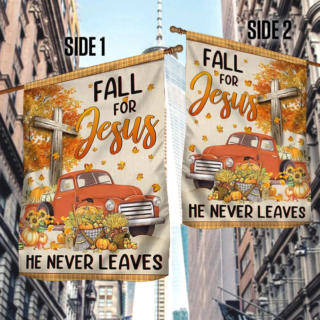 Truck with pumpkins Fall for jesus he never leaves halloween flag