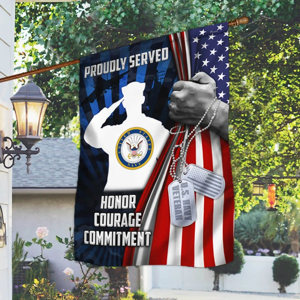 US Navy Veteran proudly served honor courage commitment flag