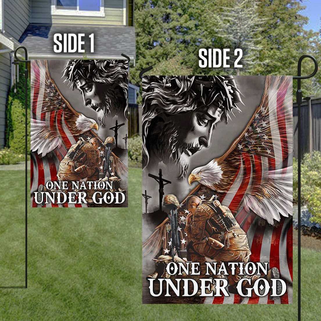 Veteran One nation under god eagle American flag - Picture 1