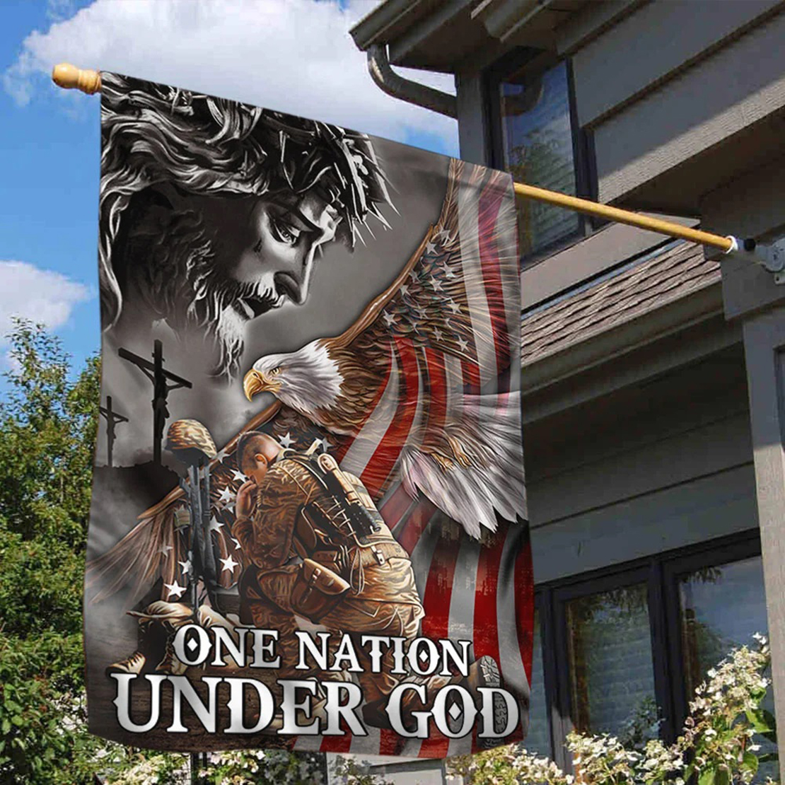 Veteran One nation under god eagle American flag - Picture 2