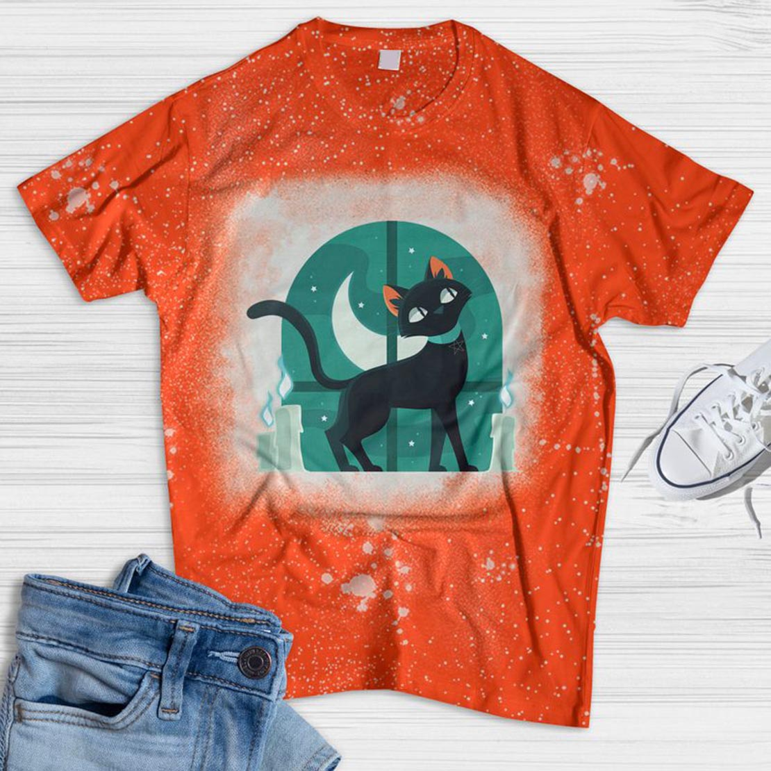 Witch Cat Bleached T-shirt