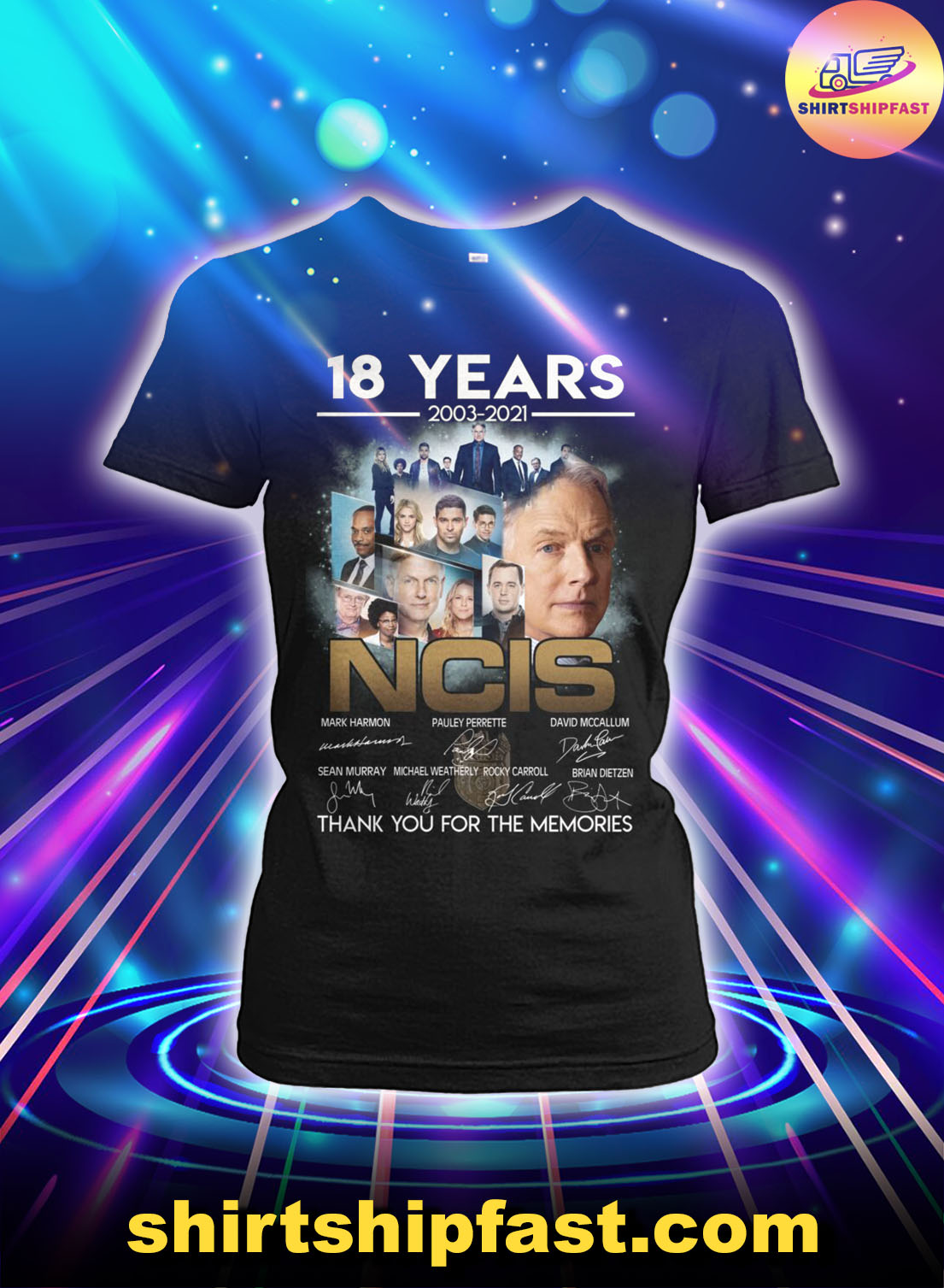 18 years 2003 2021 NCIS signatures thank you for the memories lady shirt