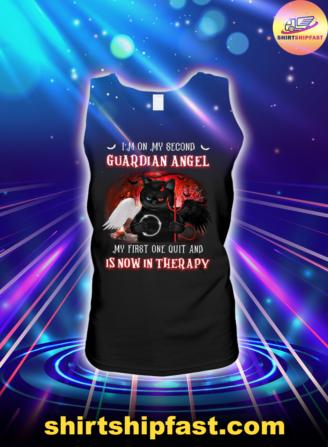 Black cat I'm on my second guardian angel My first one quit and is now in therapy tank top