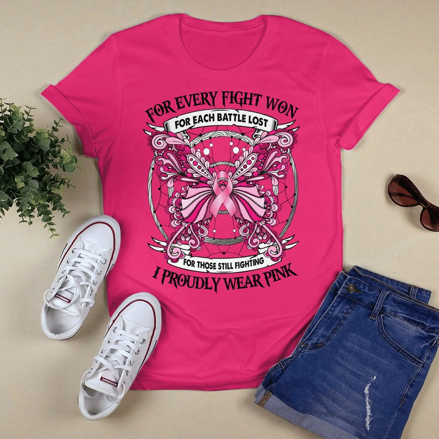 Breast cancer awareness for every fight won I proudly wear pink shirtBreast cancer awareness for every fight won I proudly wear pink shirt