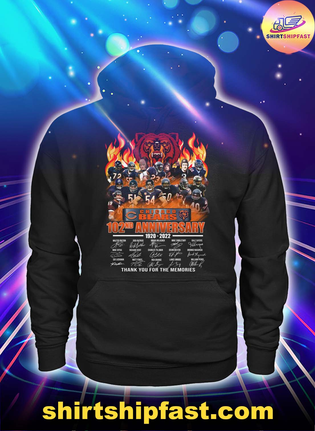 Chicago Bears 102nd anniversary thank you for the memories hoodie