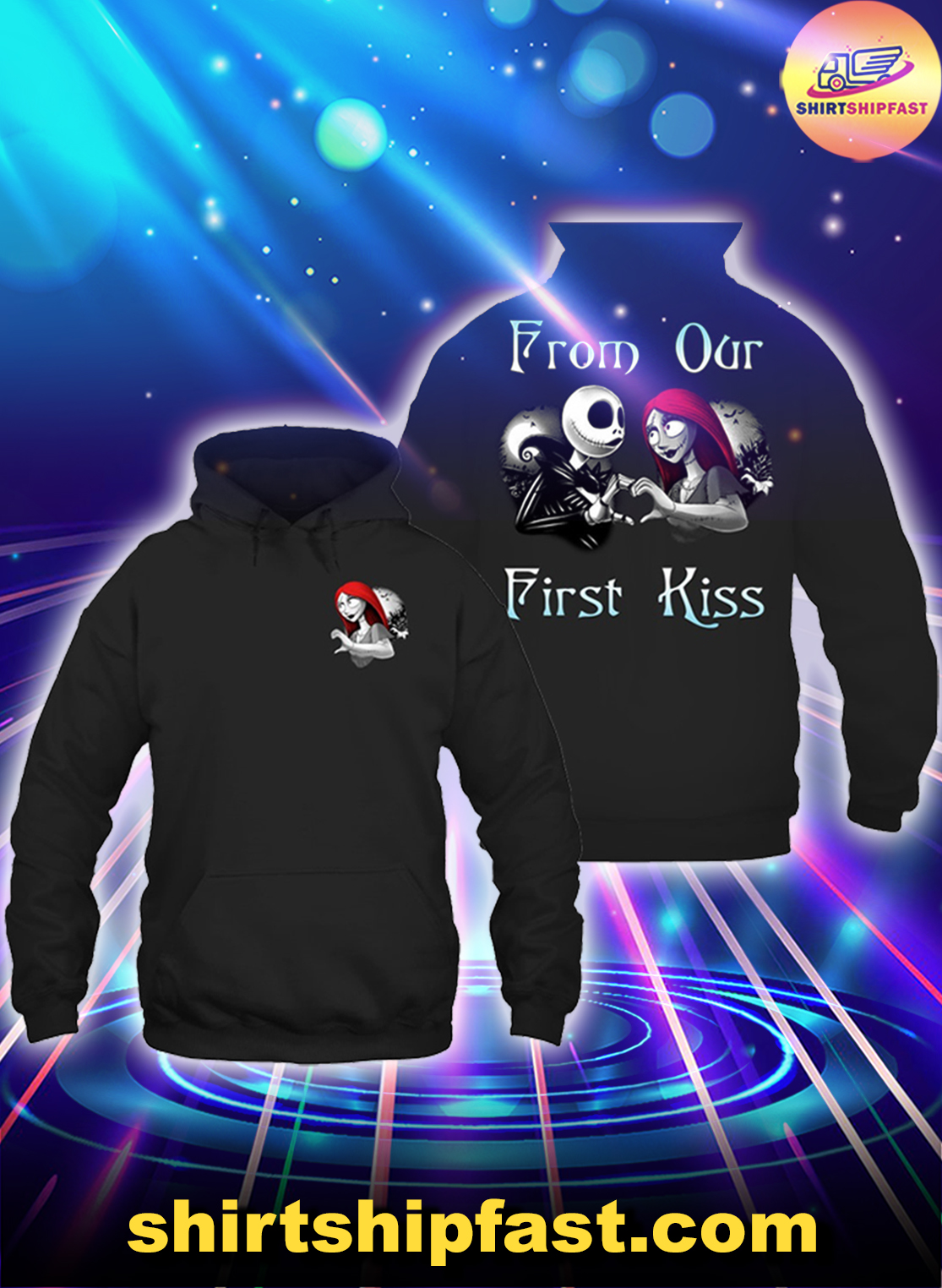 Jack and Sally From our first kiss Till our last breath couple hoodie