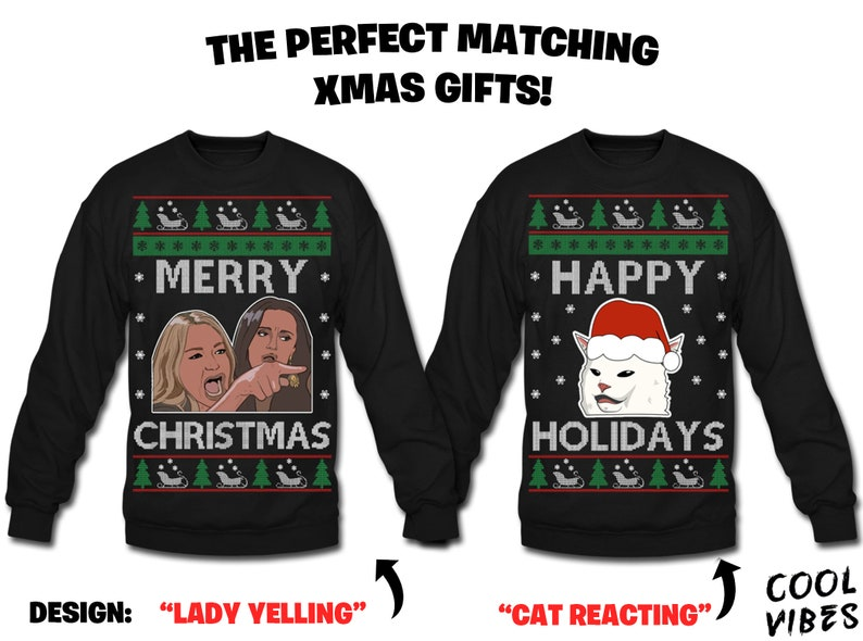 Lady Yelling At Cat Funny Christmas Sweatshirt Ugly Sweater