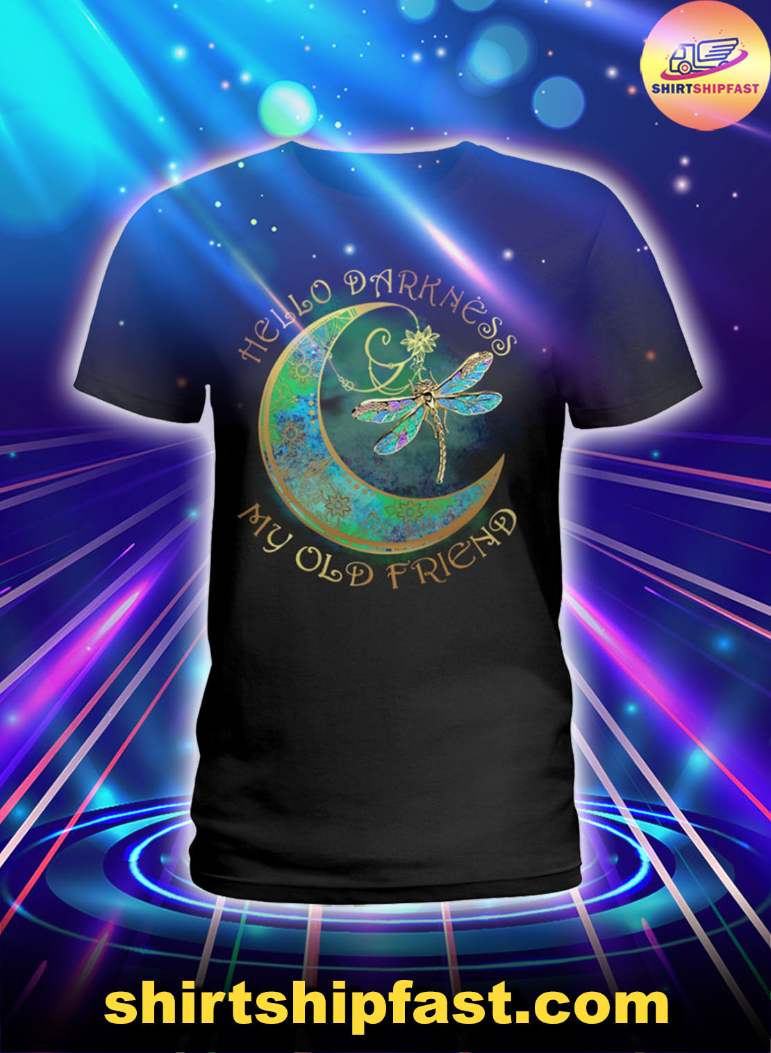 Moon Dragonfly Hello darkness my old friend lady shirt